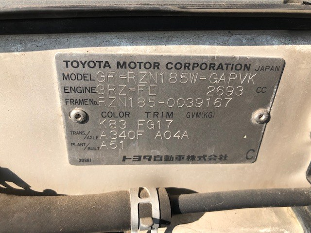 TOYOTA HILUX SURF 2000 ref: CCN4062011 (014)